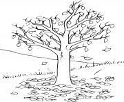 arbre automne avec feuilles dessin à colorier