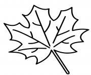 feuille erable facile dessin à colorier