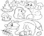 animaux automne herisson feuilles champignons dessin à colorier