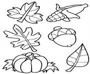 feuilles mais citrouille automne octobre dessin à colorier