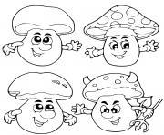 champignon automne octobre dessin à colorier