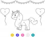 princesse licorne magique avec ballons en forme de coeur dessin à colorier
