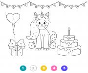 licorne magique anniversaire gateau cadeau fete dessin à colorier