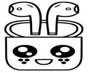 airpods apple kawaii dessin à colorier