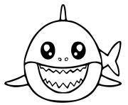 baby shark kawaii dessin à colorier