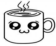 mignon coffee kawaii drink dessin à colorier