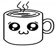 cafe kawaii dessin à colorier