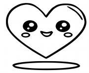 coeur kawaii dessin à colorier