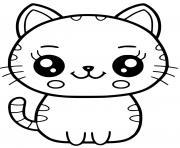 chat kawaii dessin à colorier