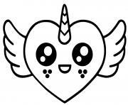 coeur licorne avec des ailes kawaii dessin à colorier