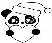 mignon panda kawaii animal for christmas dessin à colorier