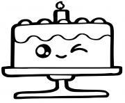 mignon rainbow cake kawaii dessin à colorier