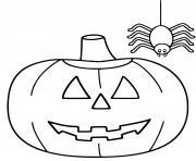 citrouille facile maternelle avec araignee dessin à colorier