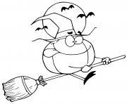 citrouille vol pres de la lune comme une sorciere dessin à colorier