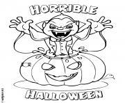 vampire dracula sort de la citrouille halloween dessin à colorier