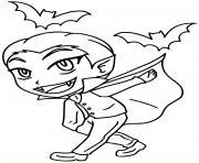 vampire garcon halloween avec des chauve souris dessin à colorier