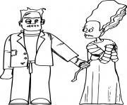 Frankenstein offre une rose a une femme dessin à colorier