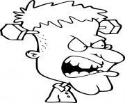Monstre Frankenstein tres en colere dessin à colorier
