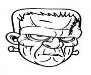 la tete de frankeinstein pas tres content dessin à colorier
