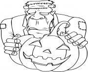 Frankenstein se cache derriere une citrouille halloween dessin à colorier