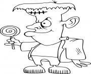 Petit Frankenstein tient une sucette dessin à colorier