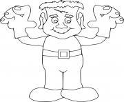 Frankenstein avec des gants qui font peur dessin à colorier