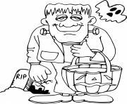 Frankenstein avec un fantome dessin à colorier