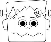 Visage de Frankenstein facile dessin à colorier