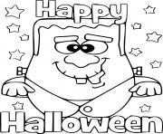 Frankenstein vous souhaite un joyeux halloween dessin à colorier