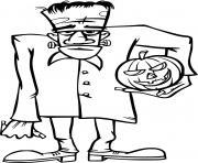 Frankenstein avec une citrouille dessin à colorier