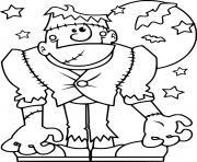 Frankenstein devant la lune et les chauves souris dessin à colorier