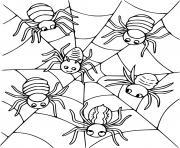 Six araignees dessin à colorier