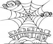Two Cartoon araignees dessin à colorier