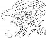 super heroine dans le ciel dessin à colorier