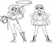 Super heroine wonder woman et supergirl dessin à colorier