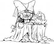 garfield en robe et tenue pour femme dessin à colorier