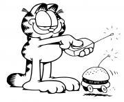 garfield joue avec une voiture hamburger automatique dessin à colorier