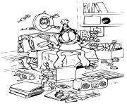 la chambre de garfield est dans un desordre total dessin à colorier