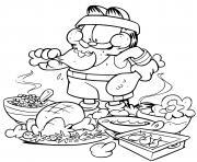 garfield deguste un grand festin de poulet apres une seance de sport dessin à colorier