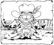 garfield le cowboy pret pour un combat de as de la gachette western dessin à colorier