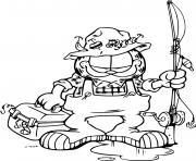 garfield pecheur pret pour le saumon dessin à colorier