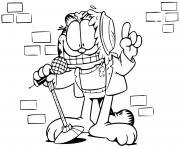 garfield au comedy club pour un spectacle humour dessin à colorier