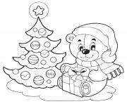 coloriez sapin de noel et nounours avec un cadeau de noel dessin à colorier