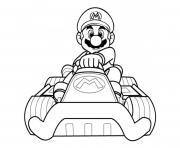 mario kart wii avec sa voiture dessin à colorier