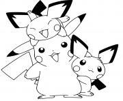 coloriez pikachu mignon avec ses cousins pikachus dessin à colorier