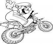 mario en mode moto dessin à colorier
