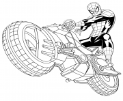 coloriez spiderman avec sa spider moto auto tres rapide dessin à colorier