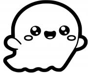 fantome kawaii halloween facile dessin à colorier