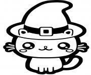 chat avec chapeau de sorciere halloween facile dessin à colorier