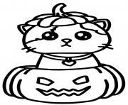 chat kawaii dans une cirtrouille halloween facile dessin à colorier